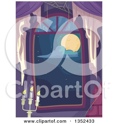 Clipart of a Window Looking out at a Full Moon, with Covwebs and a Candleabra - Royalty Free Vector Illustration by BNP Design Studio