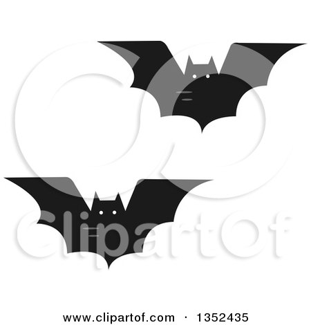 Clipart of Flying Vampire Bats - Royalty Free Vector Illustration by BNP Design Studio