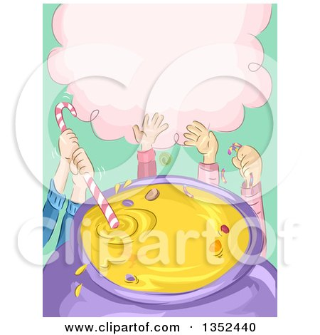 Clipart of Sketched Children's Hands Mixing Candies in a Cauldron - Royalty Free Vector Illustration by BNP Design Studio
