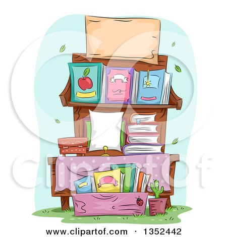 Clipart of a Stand of Books for Sale - Royalty Free Vector Illustration by BNP Design Studio