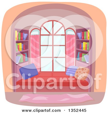 Clipart of a Window Library Nook - Royalty Free Vector Illustration by BNP Design Studio
