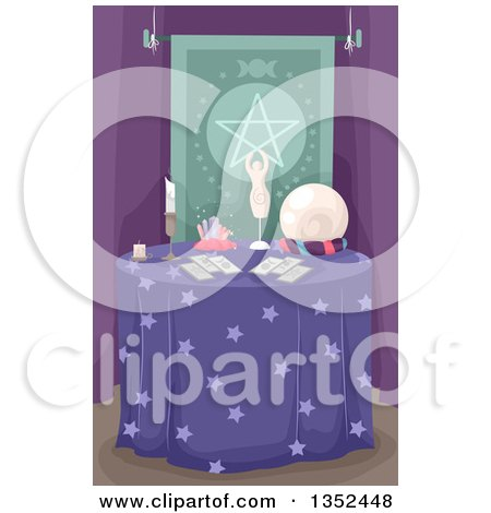 Clipart of a Fortune Teller's Table - Royalty Free Vector Illustration by BNP Design Studio