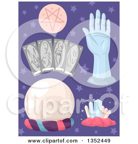 Clipart of Fortune Telling Items over Purple Stars - Royalty Free Vector Illustration by BNP Design Studio