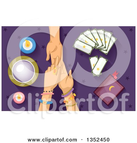 Clipart of a Gypsy Fortune Teller Reading a Client's Palm