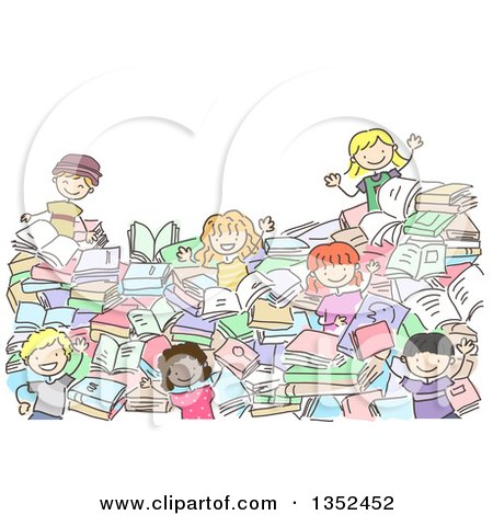 Clipart of a Doodled Group of Kids in a Pile of Books - Royalty Free Vector Illustration by BNP Design Studio