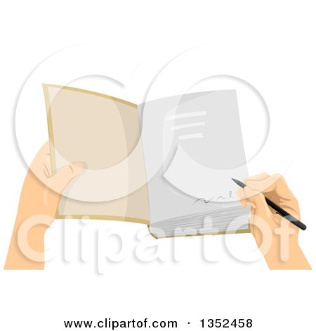 Clipart of a Hand Signing a Book - Royalty Free Vector Illustration by BNP Design Studio