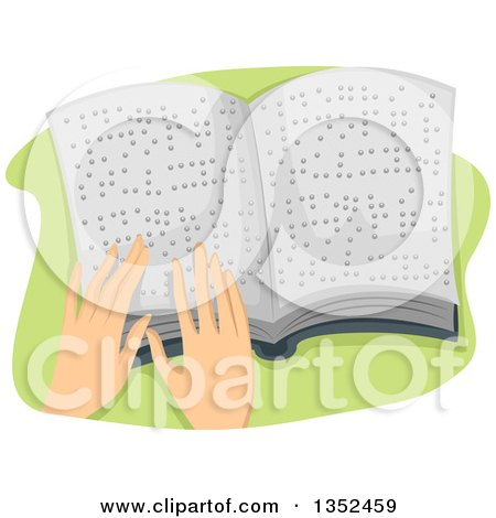 Clipart of Hands Reading a Braille Book - Royalty Free Vector Illustration by BNP Design Studio