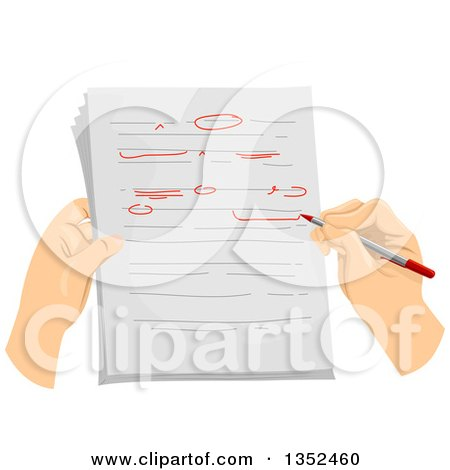 Clipart of Hands Correcting and Proof Reading a Document - Royalty Free Vector Illustration by BNP Design Studio