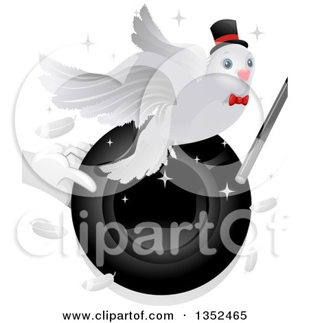 Clipart of a Magician Holding a Hat and Wand with a Dove - Royalty Free Vector Illustration by BNP Design Studio