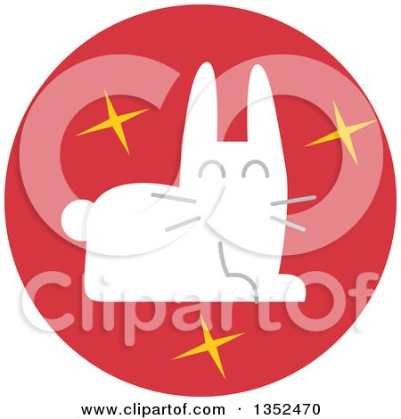 Clipart of a Round Red Magician's Rabbit Icon - Royalty Free Vector Illustration by BNP Design Studio