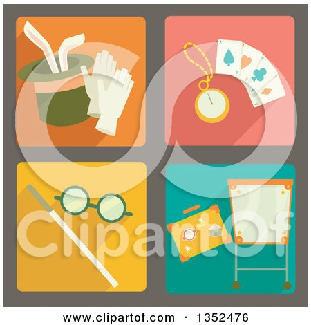 Clipart of Square Magic Trick Icons - Royalty Free Vector Illustration by BNP Design Studio