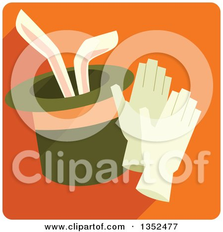Clipart of a Square Orange Magic Trick Icon with a Rabbit in a Hat - Royalty Free Vector Illustration by BNP Design Studio