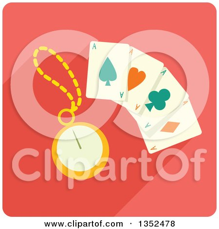 Clipart of a Square Magic Card Trick Icon with a Stopwatch - Royalty Free Vector Illustration by BNP Design Studio
