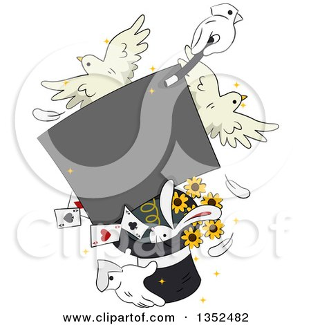 Clipart of Magician Hands Performing a Trick with a Sign, Doves, Rabbit, Cards and Flowers - Royalty Free Vector Illustration by BNP Design Studio