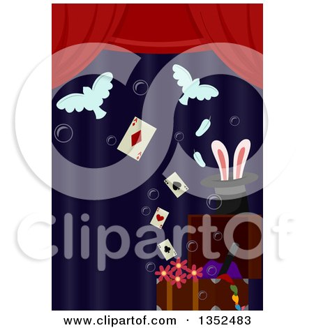 Clipart of Magic Props on Stage - Royalty Free Vector Illustration by BNP Design Studio