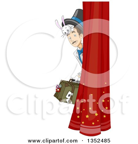 Clipart of a Male Magician Peeking Around a Curtain, with a Bunny Under His Hat - Royalty Free Vector Illustration by BNP Design Studio