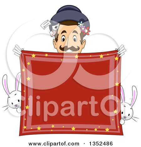 Clipart of a Male Magician Smiling over a Red Handkerchief, with Rabbits - Royalty Free Vector Illustration by BNP Design Studio