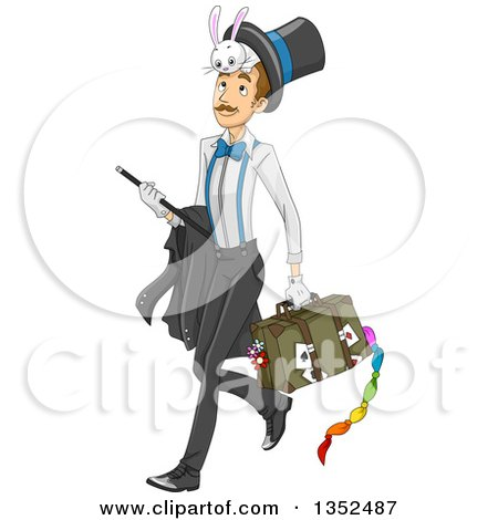 Clipart of a Male Magician Walking with His Gear - Royalty Free Vector Illustration by BNP Design Studio