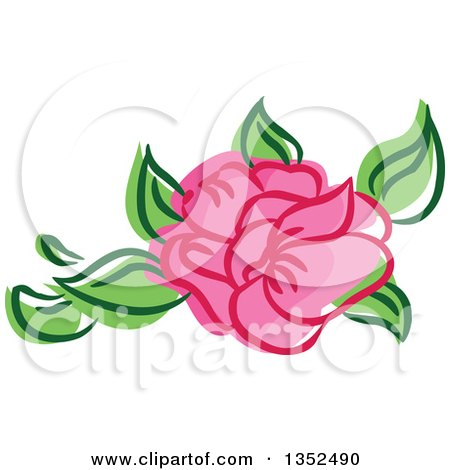 Clipart of a Sketched Pink Rose and Leaves - Royalty Free Vector Illustration by BNP Design Studio