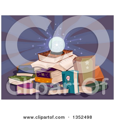 Clipart of a Glowing Crystal Ball on a Pile of Magic Books - Royalty Free Vector Illustration by BNP Design Studio