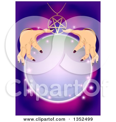 Clipart of a Fortune Teller Rubbing Her Hands on a Crystal Ball - Royalty Free Vector Illustration by BNP Design Studio