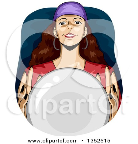 Clipart of a Gypsy Fortune Teller over a Crystal Ball - Royalty Free Vector Illustration by BNP Design Studio