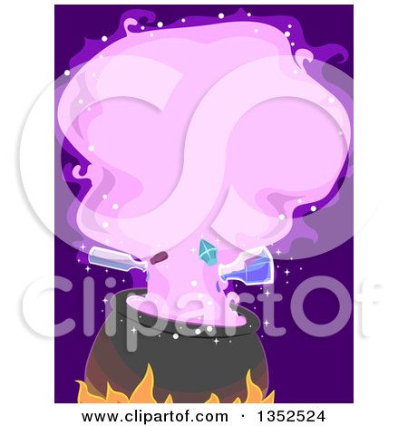 Clipart of a Witch Cauldron with Potion Bottles Pouring and a Purple Cloud - Royalty Free Vector Illustration by BNP Design Studio
