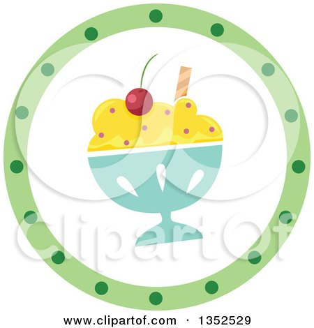 Clipart of a Round Ice Cream Sundae and Green Dot Icon Button - Royalty Free Vector Illustration by BNP Design Studio