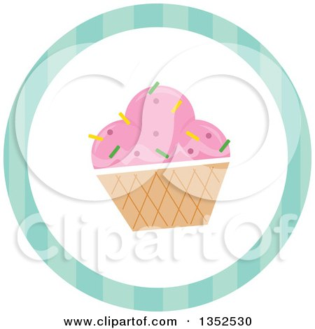 Clipart of a Round Ice Cream Sundae and Stripe Icon Button - Royalty Free Vector Illustration by BNP Design Studio