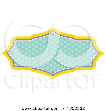 Clipart of a Yellow Purple and Green Polka Dot Frame - Royalty Free Vector Illustration by BNP Design Studio