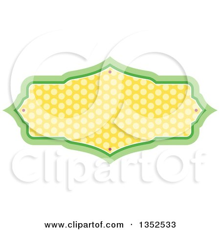 Clipart of a Green and Yellow Polka Dot Frame - Royalty Free Vector Illustration by BNP Design Studio