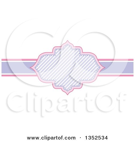 Clipart of a Pink and Purple Stripe Frame - Royalty Free Vector Illustration by BNP Design Studio