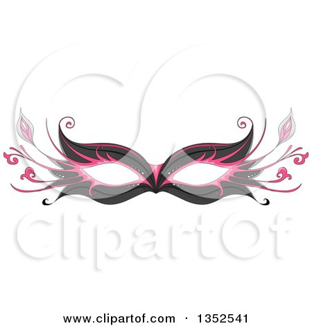 Clipart of a Pink and Black Parisian Eye Mask - Royalty Free Vector Illustration by BNP Design Studio