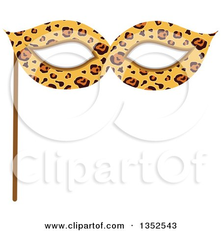 Clipart of a Photo Booth Prop Leopard Print Eye Mask - Royalty Free Vector Illustration by BNP Design Studio