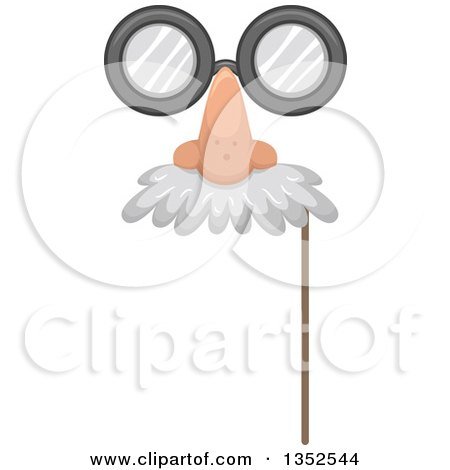 Clipart of a Photo Booth Prop Glasses, Nose and Mustache Eye Mask - Royalty Free Vector Illustration by BNP Design Studio