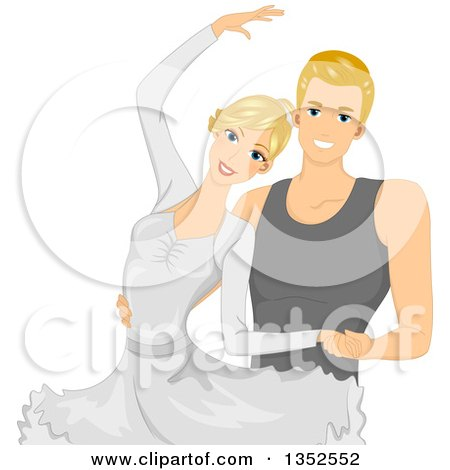 Clipart Of A Blond Caucasian Ballet Couple Dancing Royalty Free Vector Illustration