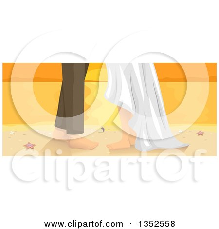 Clipart of a Wedding Couple with Bare Feet on a Beach at Sunset - Royalty Free Vector Illustration by BNP Design Studio