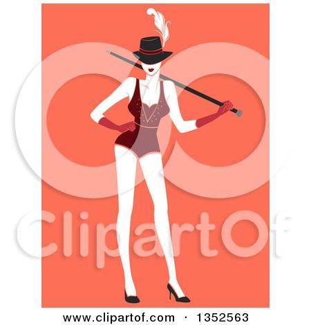 Clipart of a Burlesque Dancer Posing over Orange - Royalty Free Vector Illustration by BNP Design Studio