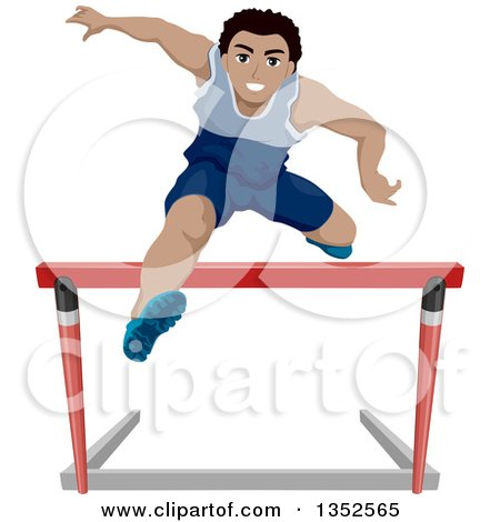Clipart of an Athletic Black Teenage Boy Leaping Hurdles - Royalty Free Vector Illustration by BNP Design Studio