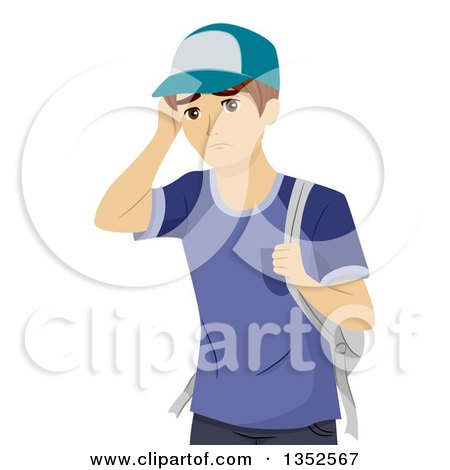 Clipart of a Young White Male Student Worrying - Royalty Free Vector Illustration by BNP Design Studio