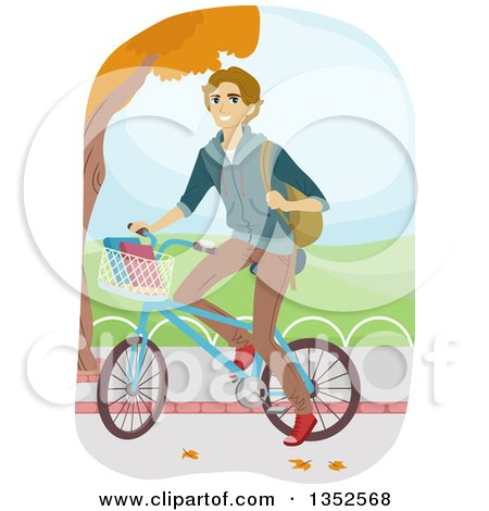 Clipart of a Happy Blond Caucasian Man Riding His Bike to School - Royalty Free Vector Illustration by BNP Design Studio
