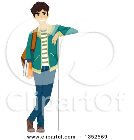 Clipart of a Happy Caucasian Male Student Leaning Against a Sign Board - Royalty Free Vector Illustration by BNP Design Studio