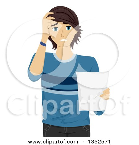 Clipart of a Worried Caucasian Male Student Holding a Document - Royalty Free Vector Illustration by BNP Design Studio