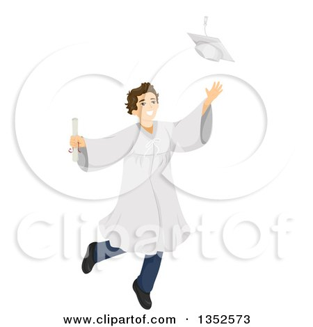 Clipart of a Brunette Caucasian Male High School Student Graduate Jumping and Tossing His Cap - Royalty Free Vector Illustration by BNP Design Studio