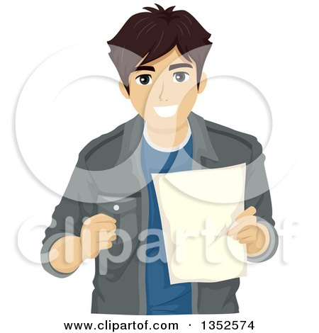Clipart of a Brunette Caucasian Male High School Student Smiling and Holding a Document - Royalty Free Vector Illustration by BNP Design Studio