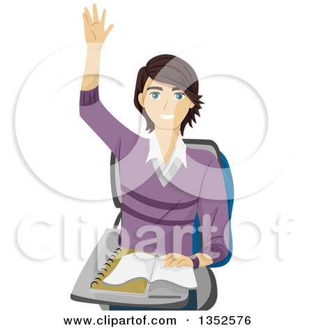 Clipart of a Brunette Caucasian Male High School Student Raising His Hand - Royalty Free Vector Illustration by BNP Design Studio