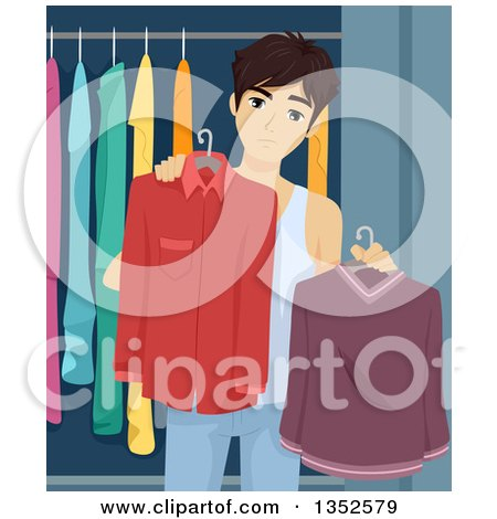 Clipart of a Brunette Caucasian Male High School Student Trying to Decide What to Wear - Royalty Free Vector Illustration by BNP Design Studio
