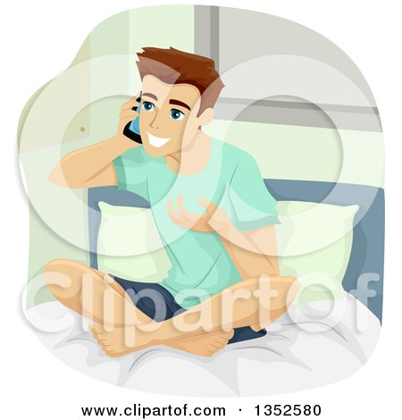 Clipart of a Brunette Caucasian Teenage Guy Talking on a Cell Phone on His Bed - Royalty Free Vector Illustration by BNP Design Studio