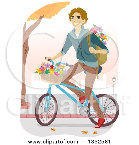 Clipart of a Brunette Caucasian Male High School Student Riding a Bike with Flowers - Royalty Free Vector Illustration by BNP Design Studio