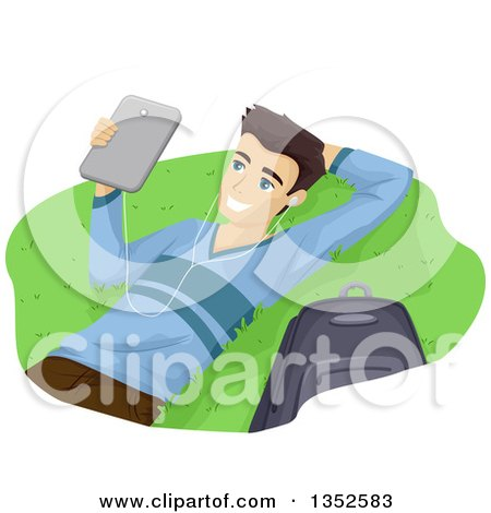 Clipart of a Brunette Caucasian Male High School Student Wearing Headphones and Using a Laptop Outdoors - Royalty Free Vector Illustration by BNP Design Studio